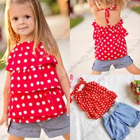 toddler girl clothing baby girl costume set chiffon Dot t shirt  denim Short pant  vestido  bebe para menina  fantasias infantis