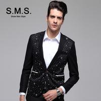 S.M.S.  2014 New TR Blazer Men's Bright Black Suits Men Casual Slim Brand Blazers Luxury Jacket Free Shipping 135096