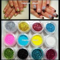 2014 Spring Fashion 12 Mix Color Acrylic UV Gel Nail Art Dust Powder Laser glitter Paillette 12se