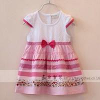 New arrival wholesale 5pcs/lot fashion baby cotton sdress kids girl patch stripe dress pretty princess ruched bowtie ball dress