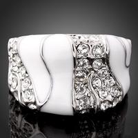 Top Quality Pave Austrian Crystal White Enamel Platinum Plated Woman Wedding Bridesmaid Ring J01076