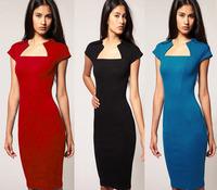 2014 New Arrival Summer Vintage Slim Elegant Business Party Women Casual Dress Knee Length Sheath Work Wear Bodycon Pencil Dress