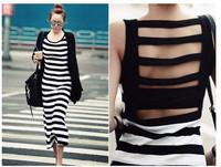 2014  new  summer  women  clothes  fashion  striped   C-9925 stripe behind full dress