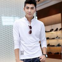 Men Tshirt Male long-sleeve T-shirt V-neck solid color basic shirt male t-shirt 2014 spring men's clothing