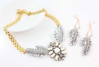 Fashion Ladies jewelry set  gold chain luxurious wings leaves crystal alloy resin necklace earrings