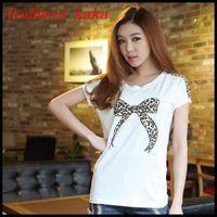 Free Shipping 2014 Fashion Trendy  Women Clothing Tops Tees cute cotton summer tops T-shirt Leopard print T-shirts T005