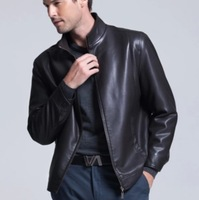 2014 spring and autumn men's slim second layer of sheepskin leather jacket men slim jackets free shipping