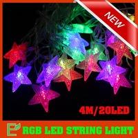 4M/20LED RGB Waterproof  LED String Light  AC110V 220V Christmas Lights Star-Shape for Holiday Party Decoration(LS036)