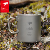 Free Shipping 2014 New Keith Double Layer Titanium Vacuum Cup Brief Outdoor Picnic Camping CookwareGlass Ti80 Ks812