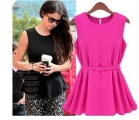 6210 summer fashion formal ol knitted chiffon pleated short design one-piece dress small short skirt belt
