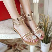 2014 sandalswomen's flat heel Sandals summer shoes sweet rhinestone young girl pumk Sandals