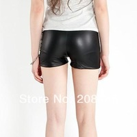 2014 New Summer Shorts Women Hot Sale Sexy Fitted Fashion Elastic Faux Leather Short Pants Black Color