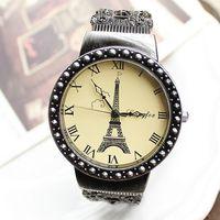Free shipping wholesale dropship hot sale good quality russia fashion vintage silvery Eiffel watch bracelet woman