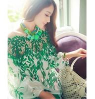 2014 women European spring foliage print chiffon blouse,Ladies long sleeve chiffon shirt summer stitching blouse lace patchwork