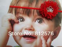 "Baby Girl Headband 2.5"" lace flower with Crown rhinestone for children's headband 20pcs/lot"