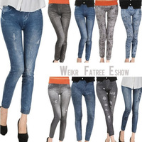 New Women Fashion leggings,printing 7 styles faux denim jeans ladies' skinny leggings pencil pants slim elastic stretchy jegging