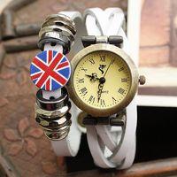 Free shipping wholesale 2013 vintage bracelet watches leather ladies cow genuine for women fashion UK flag