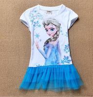 2014 Retail  New kids cartoon frozen dress girls summer short sleeve cute dress baby fashion design dresses in stock