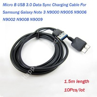 Free Shipping 10Pcs/lot Micro B 1.5m USB Data Sync Charging Cable for Samsung Galaxy Note 3 N9000 N9005 N9006 N9002 N9008.