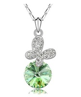 Wholesale 18K Gold Plated Austrian Crystal Butterfly Necklace fashion jewelry make with SWA elements free shipping