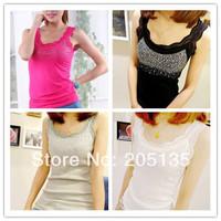 10pcs women Sexy Lace Vest 2014 new lady sleeveless t shirt  Rhinestone tank top girls basic diamond strap vest 4 Colors