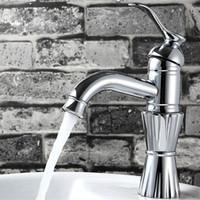 100% Brass Single Hole Bathroom Faucet  Classical Lotus Shape Sink Faucets+2 pcs Hoses