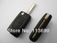 Car Covers 2 Buttons Flip Folding Key Case Blank Shell No Groove on Blade No Battery Place For PSA C4 c4l c3 c2 c5  Citroen