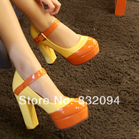 2014 women's spring  platform high-heeled  thick heel color block decoration candy color japanned leather sexy single