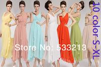 Free Shipping 2014 New Fashion Women Long-design Long Dress Beach Chiffon Summer Dress Sleeveless V-Neck 10-Color S-XL Plus Size