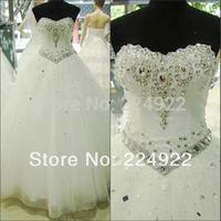 2014 Fashionable Romantic Sexy White Vintage Bandage Wedding Dress Rhinestone Plus Size Real Photo Women Bridal Ball Gown Dress