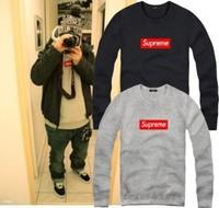 2014 New Brand supreme Men Women Loose Long Sleeve Hoody And Sweatshirt Cotton Hip Hop Sports Plus Size Outerwea Free Shipping