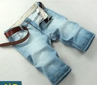 Summer thin men's clothing denim shorts slim straight pants light blue light color plus size capris male