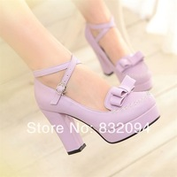 Elegant sweet princess bow high-heeled shoes, hasp sexy platform thick heel single  fashion women's shoes