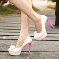 Spring and autumn new arrival 2014 ultra high heels thin heels platform color block decoration single shoes bow rhinestone sweet