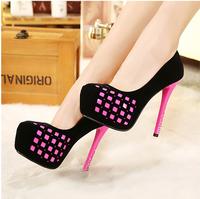 Ultra high heels thin heels platform color block decoration single shoes high-heeled shoes single shoes sweet princess