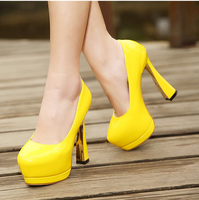 Fashion spring and autumn ultra high heels thick heel sexy single shoes female women's platform shoes 2014