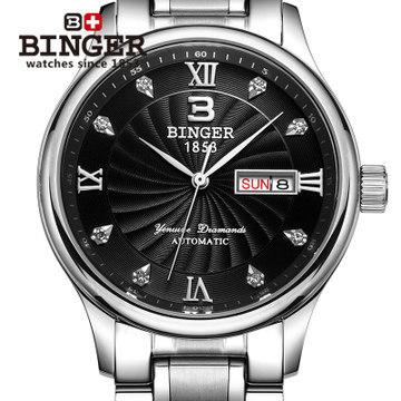 Swiss brand mechanical men color silver watches good luck watch date ...