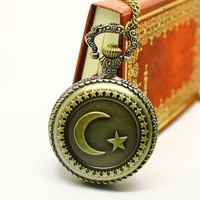 Free shipping wholesale dropshiping 2013 russian hot sale bronze vintage moon star big face fashion quartz pocket watch