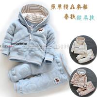 Free shipping new 2014 spring female child clothing set  baby clothes girl velvet sports set newborn