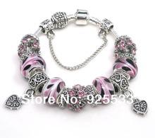 Free shipping 2014 17cm-21cm Fashion Elegant pink glass beads and antique rhinestone metal beads European bracelet(China (Mainland))