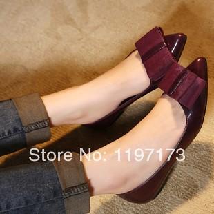 2014 a moda europeus e americanos ponto fêmea para sapatos femininos grandes borboleta brilhante boca sapatos documentários plana(China (Mainland))