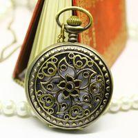 Free shipping wholesale dropship 2013 russian hot sale bronze vintage big redbud hollow cut fashion quartz pocket watch