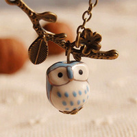 12pcs/lot Cute Cartoon Ceramic Owl Pendant Necklace Pink/Yellow/Green/Blue Bronzed Long Necklaces for Best Friends XL068