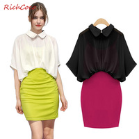 Free shipping 2014 hot Fashion turn-down collar half sleeve chiffon patchwork faux two piece high waist one-piece dress