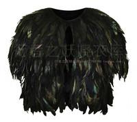 Topshop british style vintage royal natural feather cloak green black fur shawl