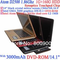 "14"" Laptop black crystal mirror screen 1366x768 16:9 Intel Atom D2500 1.86G DVD-ROM 802.11B/G WiFi 1G RAM 160G HDD Windows Linux"