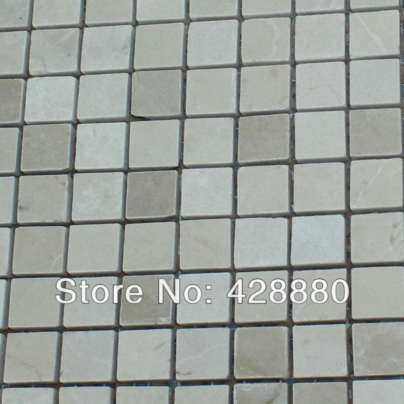 Rode Keuken Tegels : Square Glass and Stone Mosaic Tile Backsplash