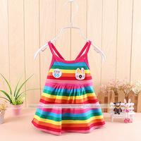 Best off 2014 Summer Girl Puffy dress Dancing clothing Princess Tutu Dress Rainbow striped dress Kids clothing