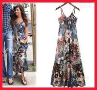 New 2014 hot sale spring summer fashion Brand Dress high quality strap print vintage long beach maxi bohemian dresses for women
