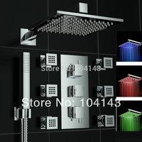 "50027C/1 Latest Excellent Quality 12"" LED Shower Head Luxury Rainfall Chrome Shower Set Bathroom Sets"